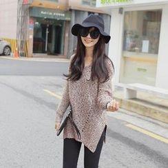 REDOPIN - Pointelle Knit Mélange Sweater