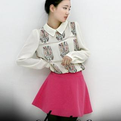 lovemark - Set: Owl Print Chiffon Top + A-Line Mini Skirt
