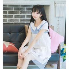 Moricode - Cross Print Short Sleeve Collared Mesh Overlay Dress