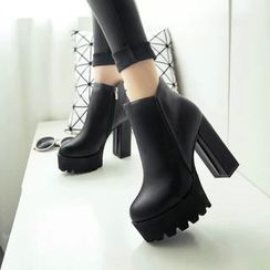 Yoflap - Platform Chunky Heel Ankle Boots