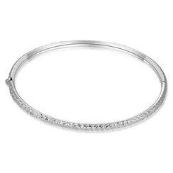 MaBelle - 14K Italian White Gold Diamond-Cut Bangle (55mm), Women Girl Jewelry in Gift Box
