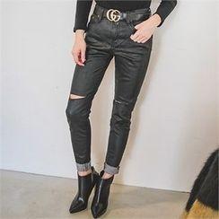 ERANZI - Distressed Coated Slim-Fit Jeans
