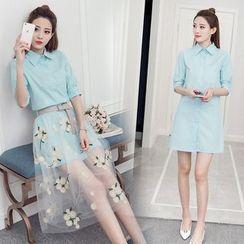 Arroba - 套裝: 長袖襯衫連衣裙 + 碎花網紗中長裙