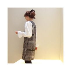 LEELIN - Puff-Sleeve Check Dress