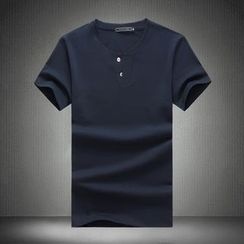 Alvicio - Plain Henley Short Sleeve T-Shirt