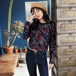 Tokyo Fashion - Long-Sleeve Printed Cropped Top