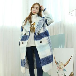 Dodostyle - Wool Blend Oversized Check Coat
