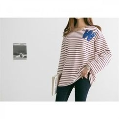 PEPER - Appliqué Striped T-Shirt