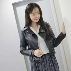 Envy Look - Faux-Leather Zip Rider Jacket