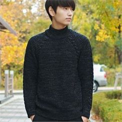 MITOSHOP - Mock-Neck Raglan-Sleeve Wool Blend Sweater