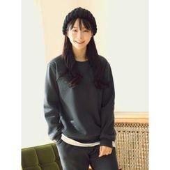 LOLOten - Set: Layered-Hem Brushed-Fleece Lined Sweatshirt + Sweatpants