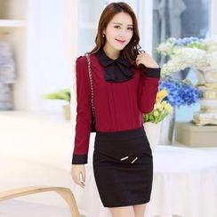 AiSun - Set: Pintuck Chiffon Blouse + Pencil Skirt