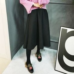 STYLEBYYAM - Neoprene A-Line Midi Skirt