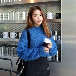 DABAGIRL - Drop-Shoulder Glitter Furry-Knit Sweater
