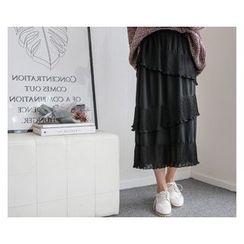 demavie - Ruffle-Detail Long Skirt