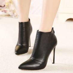 Monde - Velvet High-Heel Ankle Boots