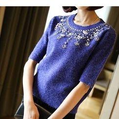 YIDIYU - Rhinestone Elbow Sleeve Sweater