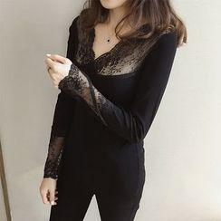 Little V - Lace Panel Long Sleeve Top