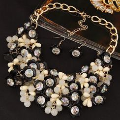 Bling Thing - Set: Flower Necklace + Drop Earrings
