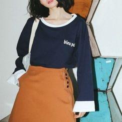 Suyisoda - 配色边字母长袖T恤