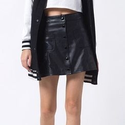 Richcoco - Faux Leather A-line Skirt