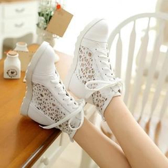 Pastel Pairs - Hidden Wedge Mesh Panel Sneakers