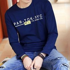 Really Point - Lettering Long-Sleeve Crewneck T-Shirt
