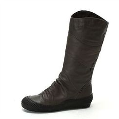 MODELSIS - Shirred Genuine Leather Boots