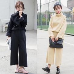 Windflower - 套装:樽领上衣 + 宽腿裤