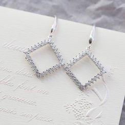 Love Generation - Rhinestone Square Drop Earrings