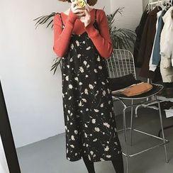 Cloud Nine - Floral Print Strap Chiffon Dress