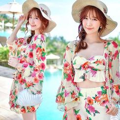 Little Dolphin - Set: Frilled Floral Print Swimdress + Cover-up