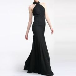 AIXI - Embellished Halter Sheath Evening Gown