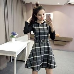 EFO - Set: Long-Sleeve Top + Sleeveless Check A-Line Dress