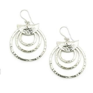 MBLife.com - 925 Sterling Silver Tribal Lucky Circles Hammered Dangle Hook Earrings, Women Girl Jewelry in Gift Box