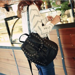 Tasche - Studded Faux-Leather Backpack