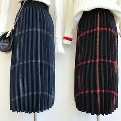 DIYI - Woolen Pleated Striped A-Line Skirt