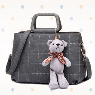 BeiBaoBao - Bear-Accent Quilted Shoulder Bag