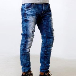 SeventyAge - Distressed Washed Straight Jeans