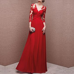 LYRA - 3/4-Sleeve Lace Panel A-Line Evening Gown