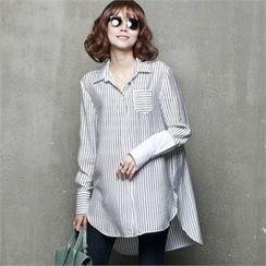 HALUMAYBE - Pocket-Detail Striped Shirt