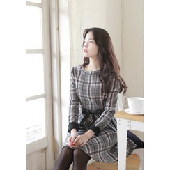 MyFiona - Checked A-Line Wool Blend Dress with Belt
