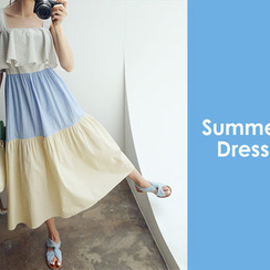 chuu - Color-Block Tiered Long Sundress