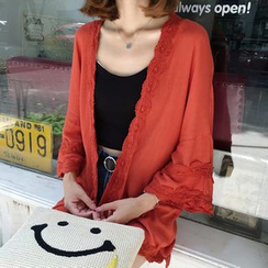 MATO - Lace Trim 3/4-Sleeve Light Jacket