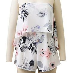 Amoura - Floral Print Strapless Playsuit