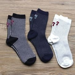 Gemini - Embroidery Striped Socks
