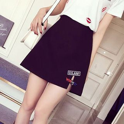Ashlee - Patched A-Line Skirt