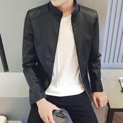 Besto - Plain Faux Leather Zip Jacket