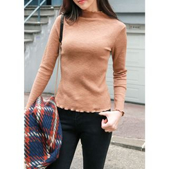 J-ANN - Mock-Neck Ribbed Knit Top