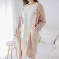 JUSTONE - Open-Front Wool Blend Long Cardigan